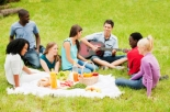 Cheerful group of teens having a picnic in the meadow.